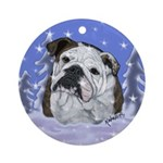 Christmas Holiday Bulldog Design Ornament (Round)