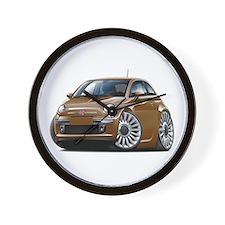 Fiat 500 Brown Car Wall Clock