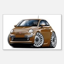 Fiat 500 Brown Car Sticker (Rectangle)