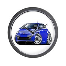Fiat 500 Blue Car Wall Clock