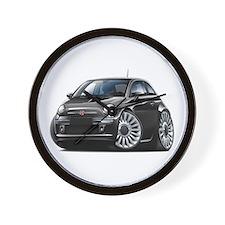 Fiat 500 Black Car Wall Clock