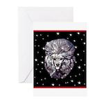 Winter or Christmas Poodle De Greeting Cards (Pk o