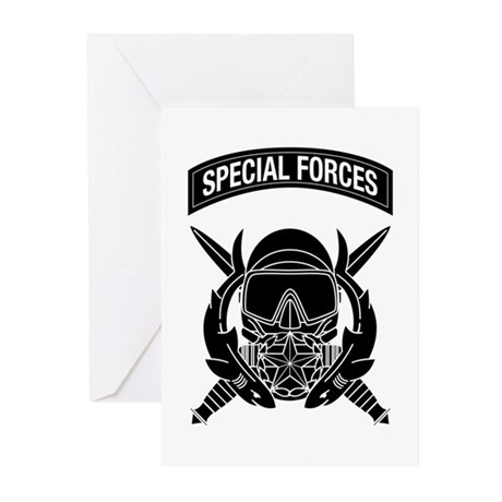 Combat Diver Supervisor w Tab B-W Greeting Cards (
