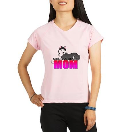Black Siberian Husky Mom Performance Dry T-Shirt