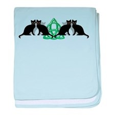 Cats Earth Triquetra Wiccan baby blanket