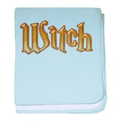 Gold Witch Bling text baby blanket
