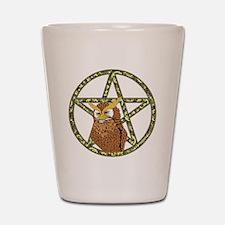vines Pentagram Owl Shot Glass