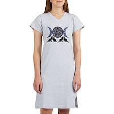 Mystic Blue Pentagram Women's Nightshirt