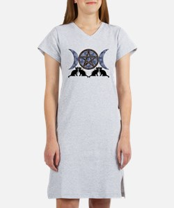 Mystic Blue Pentagram Women's Nightshirt