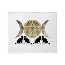 Cats Pentagram Triple Goddess Throw Blanket