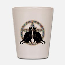 Flowers Pentagram and Cats Shot Glass