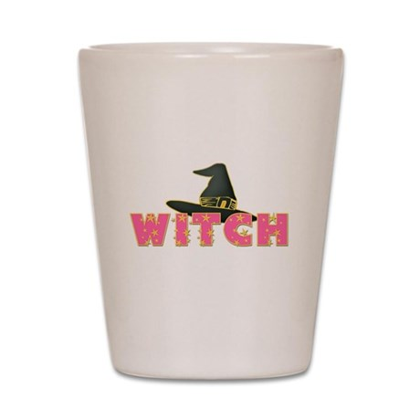 Witches Hat Stars Pink Shot Glass
