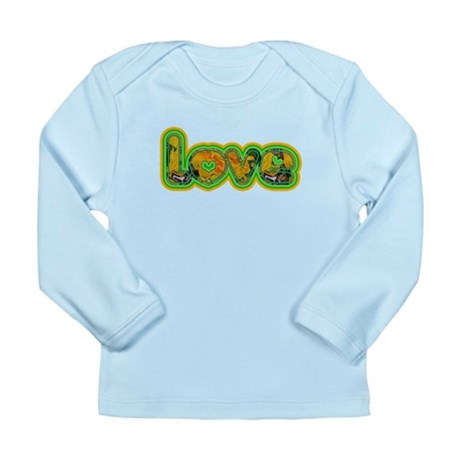 Melted Green Retro Love Long Sleeve Infant T-Shirt