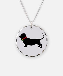 Christmas or Holiday Basset Hound Silhouette Neckl