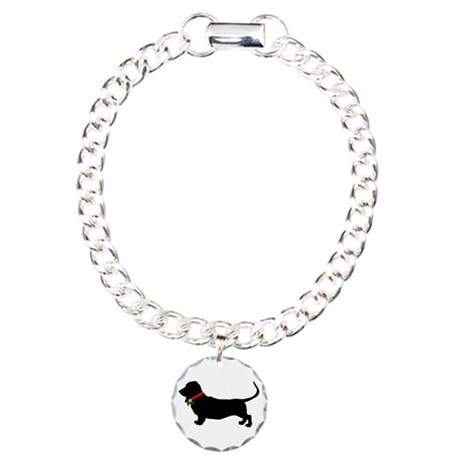 Christmas or Holiday Basset Hound Silhouette Charm