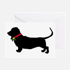 Christmas or Holiday Basset Hound Silhouette Greet