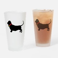 Christmas or Holiday Basset Hound Silhouette Drink