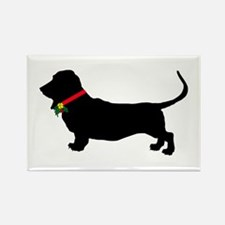 Christmas or Holiday Basset Hound Silhouette Recta
