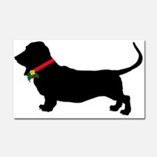 Christmas or Holiday Basset Hound Silhouette Car M