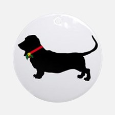 Christmas or Holiday Basset Hound Silhouette Ornam