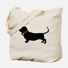 Christmas or Holiday Basset Hound Silhouette Tote