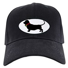 Christmas or Holiday Basset Hound Silhouette Baseball Hat