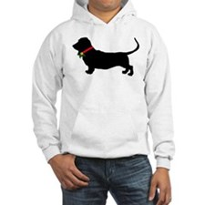 Christmas or Holiday Basset Hound Silhouette Hoode