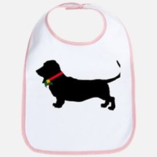 Christmas or Holiday Basset Hound Silhouette Bib