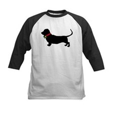 Christmas or Holiday Basset Hound Silhouette Tee