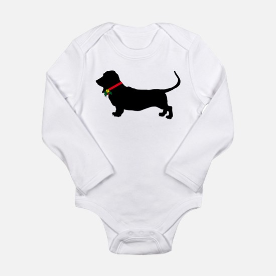 Christmas or Holiday Basset Hound Silhouette Long