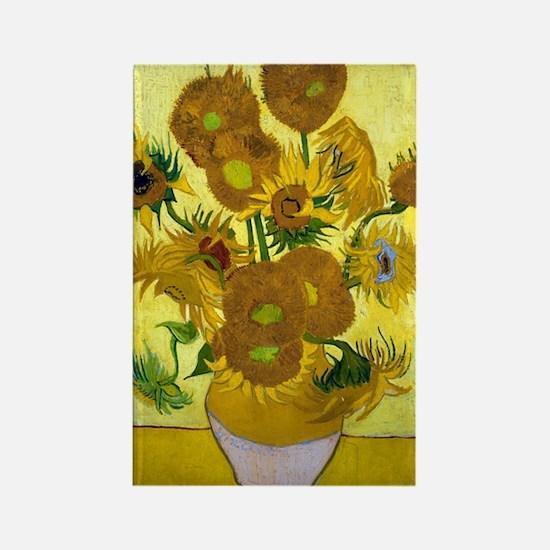 Van Gogh - 15 Sunflowers Rectangle Magnet