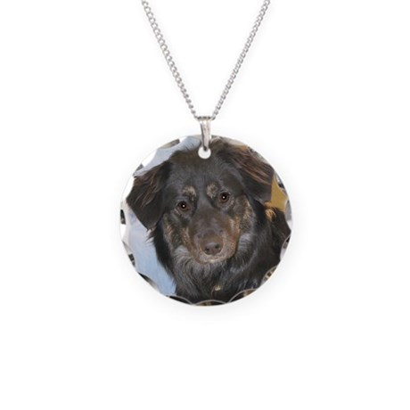 Australian Shepherd Mix Photo Necklace Circle Char