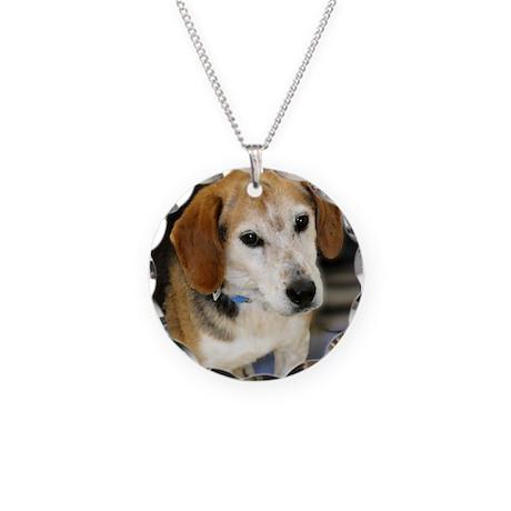 Senior Beagle Photo Necklace Circle Charm
