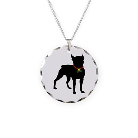 Christmas or Holiday Boston Terrier Silhouette Nec