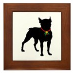 Christmas or Holiday Boston Terrier Silhouette Fra