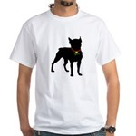 Christmas or Holiday Boston Terrier Silhouette Whi