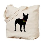 Christmas or Holiday Bull Terrier Silhouette Tote