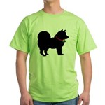 Christmas or Holiday Chow Chow Silhouette Green T-