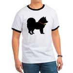 Christmas or Holiday Chow Chow Silhouette Ringer T