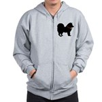 Christmas or Holiday Chow Chow Silhouette Zip Hood