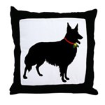 Christmas or Holiday Collie Silhouette Throw Pillo