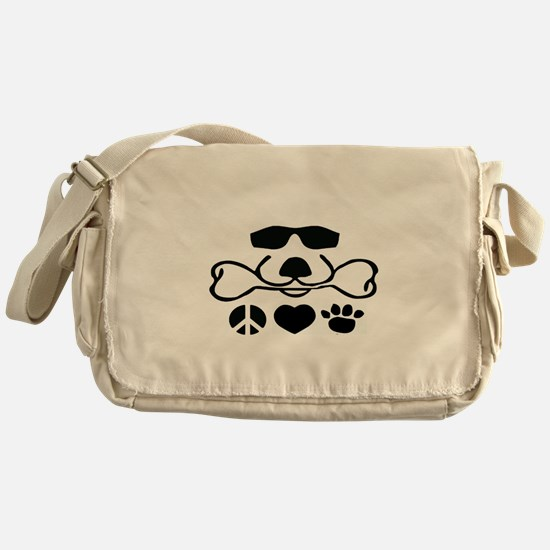 Peace, Love and Puppy Paws Messenger Bag