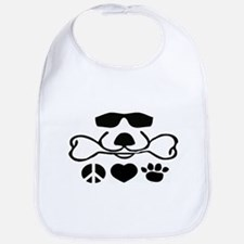 Peace, Love and Puppy Paws Bib