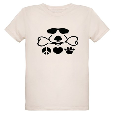 Peace, Love and Puppy Paws Organic Kids T-Shirt