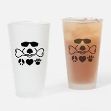 Cool Dog Duke Peace, Love, Paw Drinking Glass