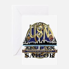 US Navy Tin Can Sailor USN Greeting Card