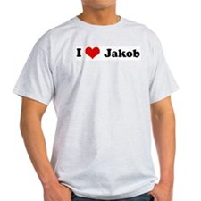I Love Jakob Ash Grey T-Shirt