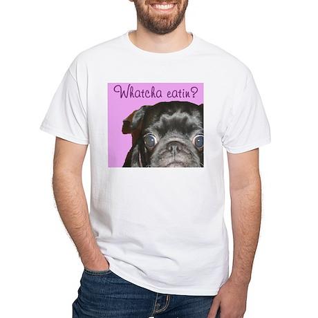 Whatcha Eatin? Black Pug Men's White T-Shirt
