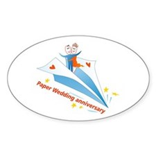 On Paper Plane Oval Decal