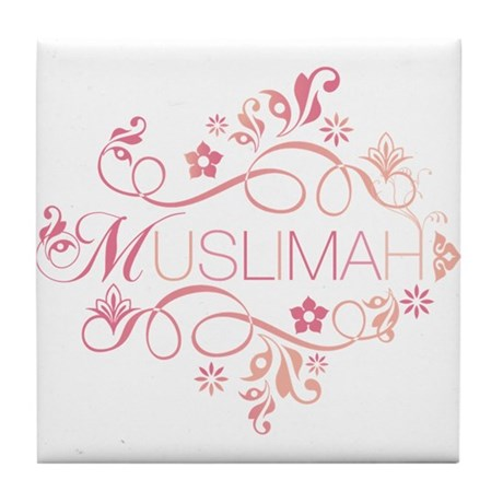 Muslimah Pink Floral Items & Tile Coaster